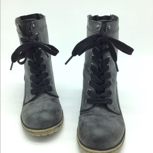 Madden Girl Black Distressed Boots Sz 7M